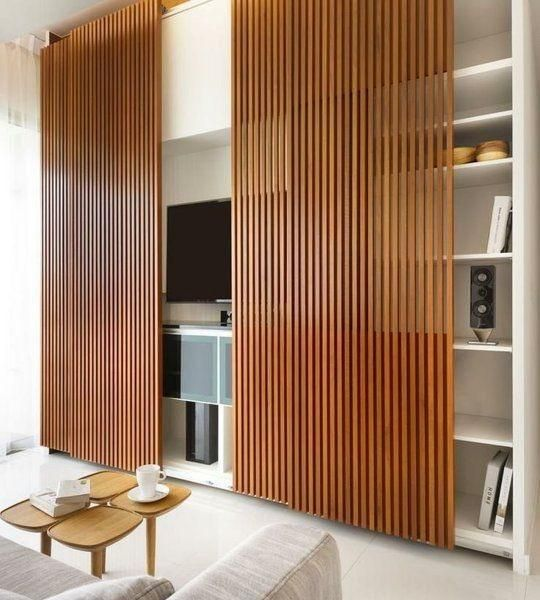 decorative wall panel designs screens and hanging doors to hide tvs - Modern Wall Paneling Designs