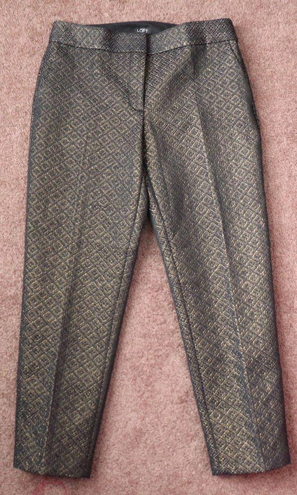 2faf035cd94d0f Women's Ann Taylor LOFT Metallic Black Gold Jacquard Crop Pants MARISA Size  6 #AnnTaylorLOFT #DressPants
