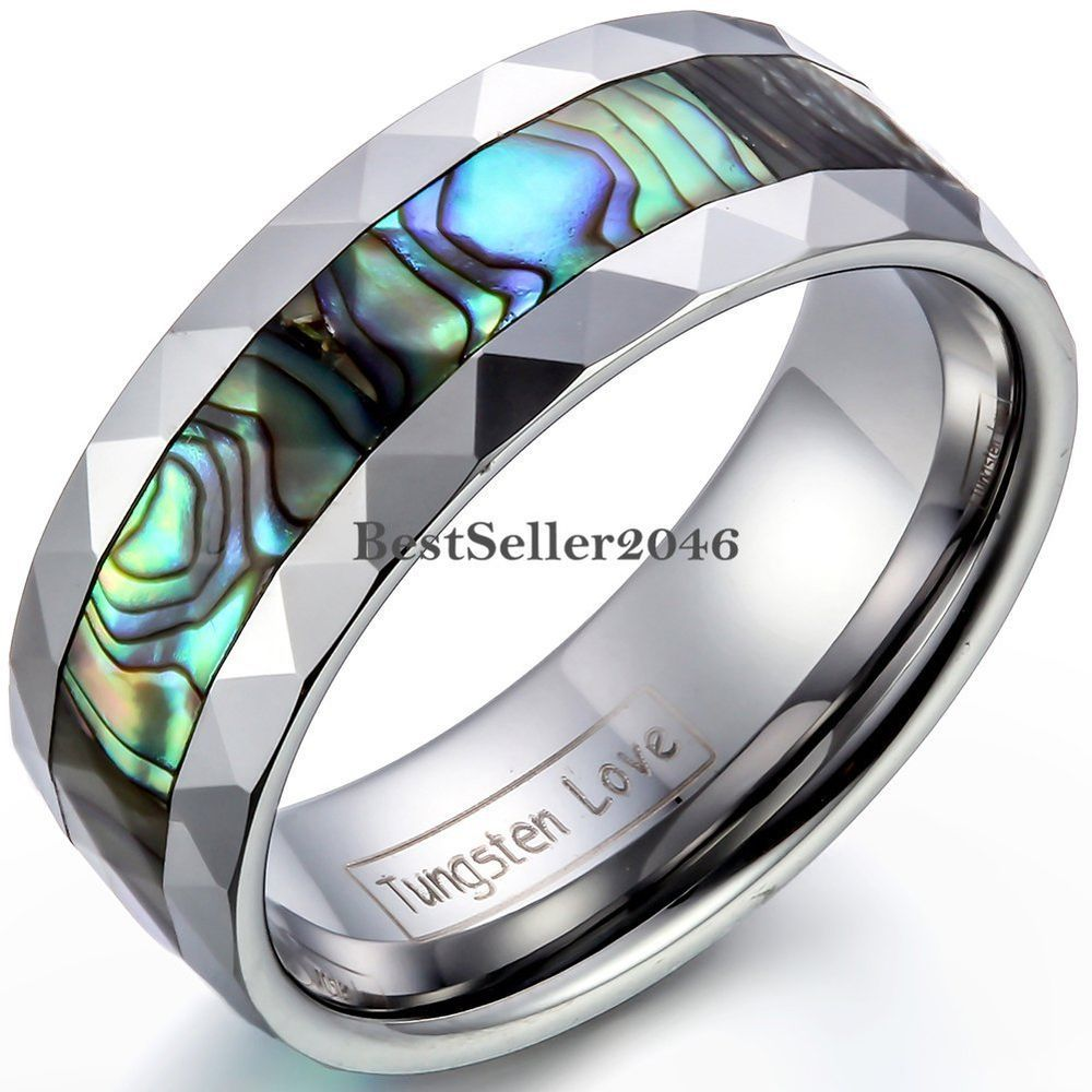 Fashion Men's 8mm Tungsten Carbide Wedding Band Ring