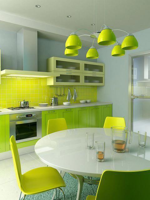 27 Colorful Kitchen That Look Fantastic #rumahmewah  #rumahminimalis  #greenkitchen  #interiør #yellowkitchen