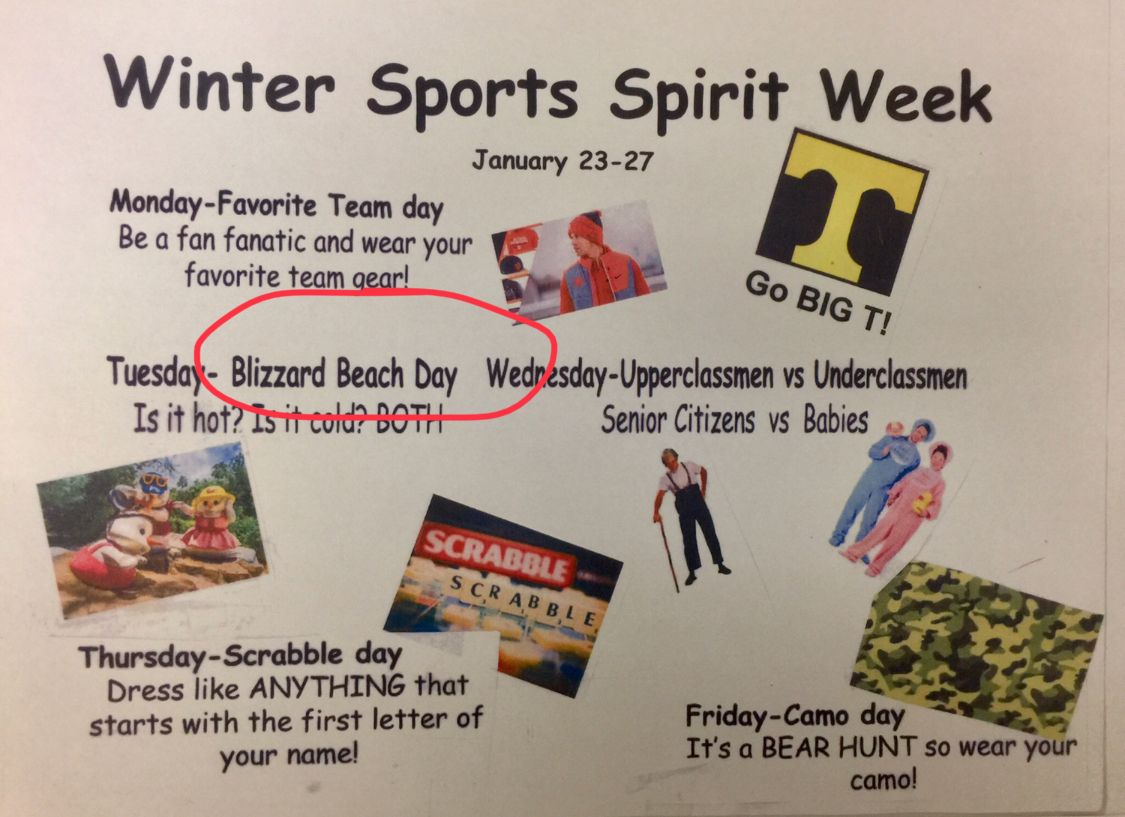 Swoosh Rally Spirit Schedule … … | School spirit week ... |Senior Week Ideas