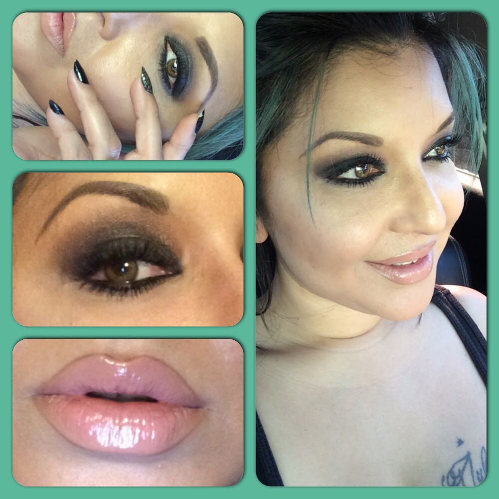 Smokey eye using NYX dream catcher palette with blushing beige lipstick and lip gloss