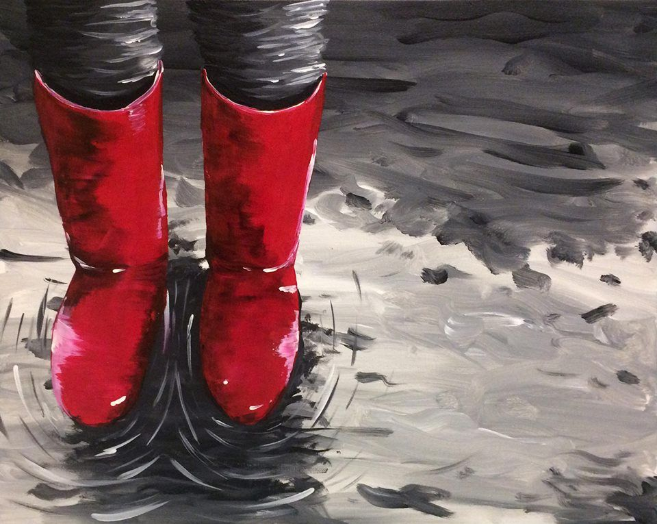 Little red rain boots painting. in 2019