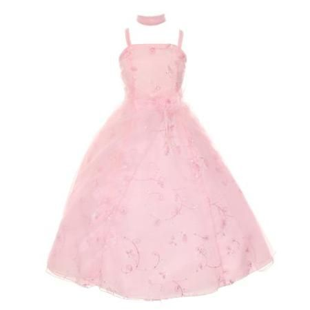 Cinderella Couture Girls Pink Flower Sequin Beaded Scarf Pageant Dress 6