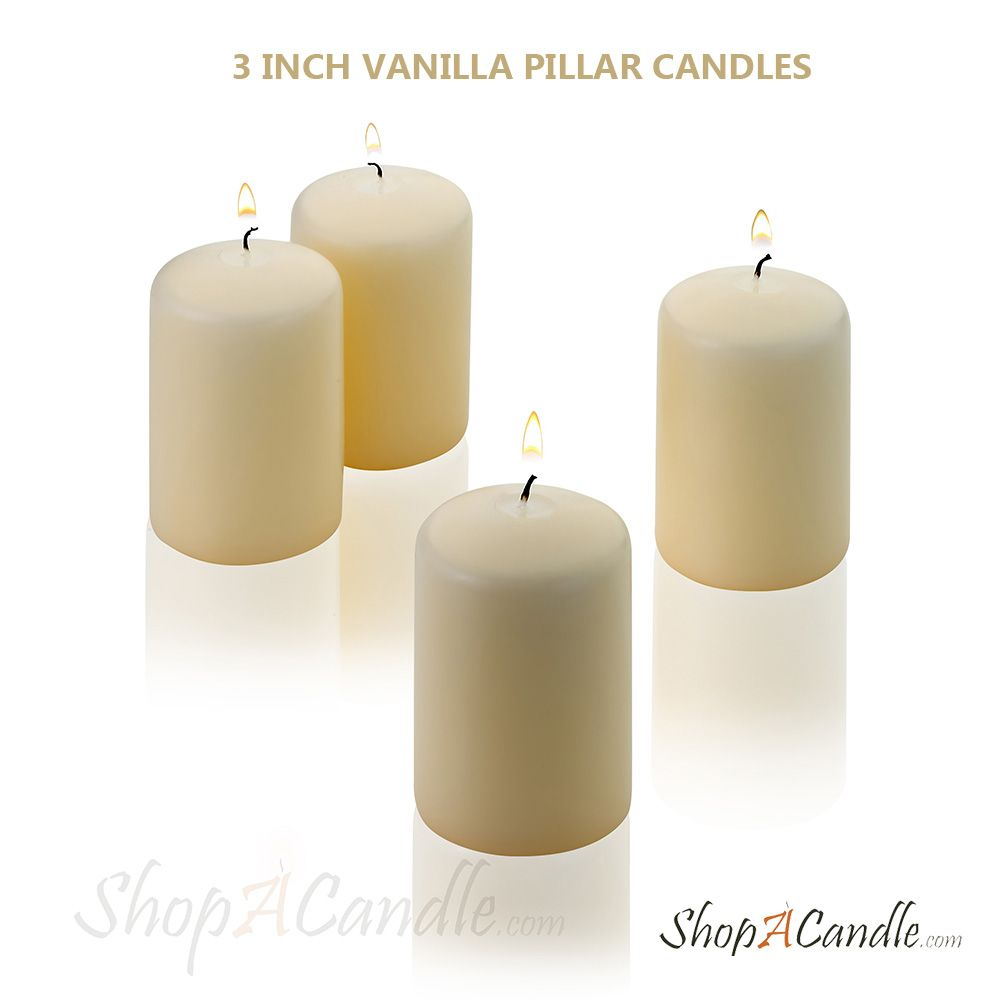 Vanilla pillar candles buy online long burning 3 inch tall and 2 inch wide vanilla pillar candles on shopacandle these candles burn up to 18 hours and