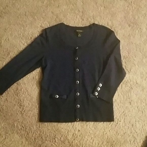 Womens 3 quarter sleeve sweater EUC beautiful navy white house sweater White House Black Market Sweaters Cardigans