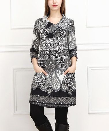 Loving this Black & White Paisley Pocket Dress - Women on #zulily! #zulilyfinds