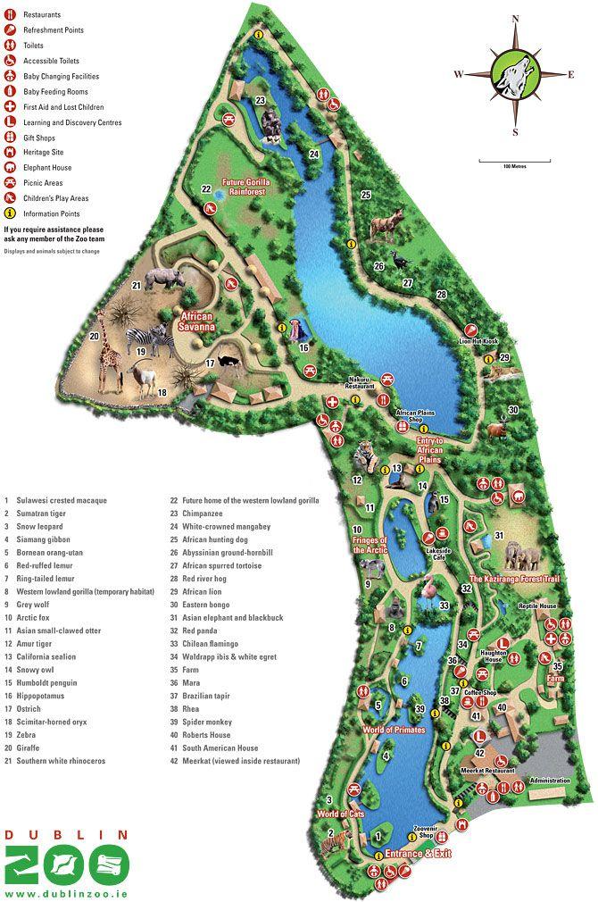 Zoo Map - Dublin Zoo, Ireland.