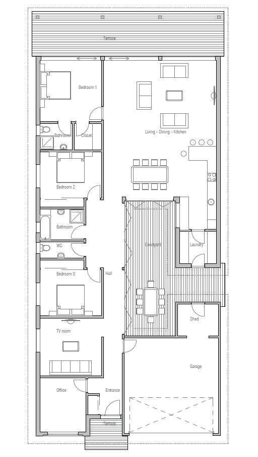 Modern House Ch105 Narrow House Plans Narrow House Modern House Plans