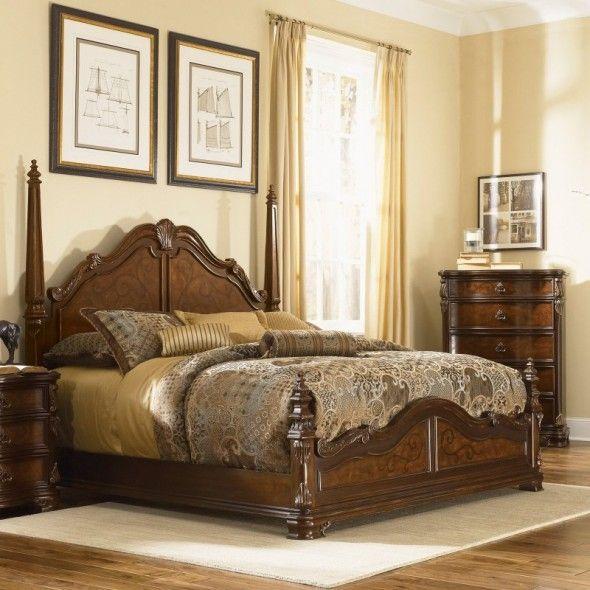 wooden bedroom design. Antique Classic Elegant And Graceful Four Poster Wooden Beds Design In  Chestnut Finish