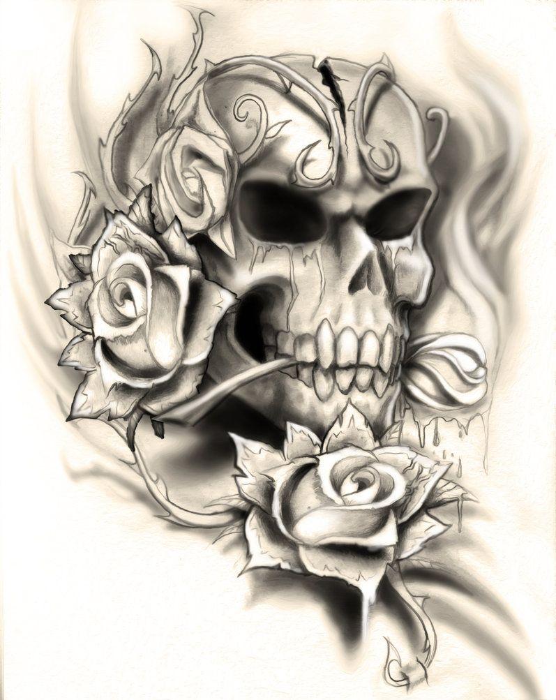 skull rose tattoo design by neogzus tattoo ideas pinterest skull rose tattoos tattoo. Black Bedroom Furniture Sets. Home Design Ideas