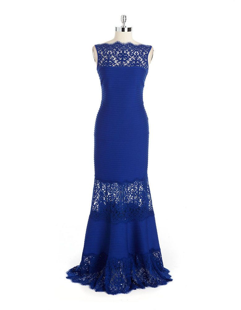TADASHI SHOJI Embroidered Illusion Mermaid blue dress size xs nwt ...