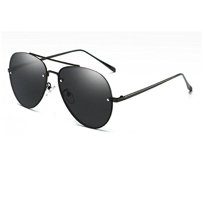 b77937e9eeb Classic Polarized Aviator Sunglasses for Men Women Sports Unisex Sun  Glasses UV (Color 1 Black Black)