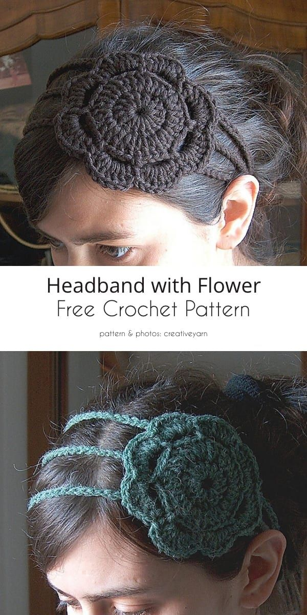 Headband with Flower Free Crochet Patterns