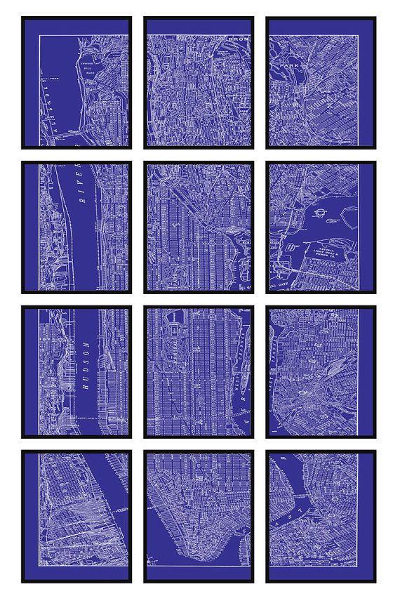 New york city map 12 panel blueprint new york city manhattan new york city map 12 panel blueprint new york city manhattan street map vintage print poster malvernweather Image collections
