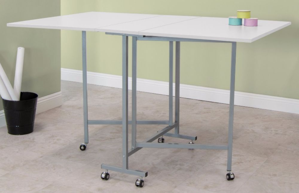 Attirant Craft Table With Wheels Rolling Studio Designs White Sewing Machine Table  Room
