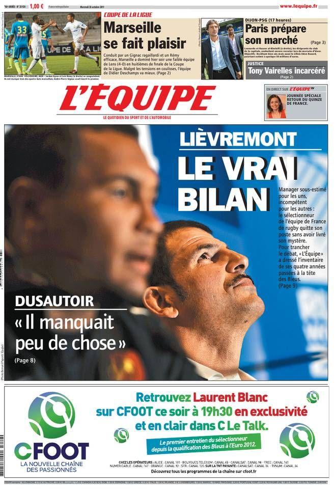 L'Équipe Mercredi 26 Octobre 2011 N° 20924 Estime de