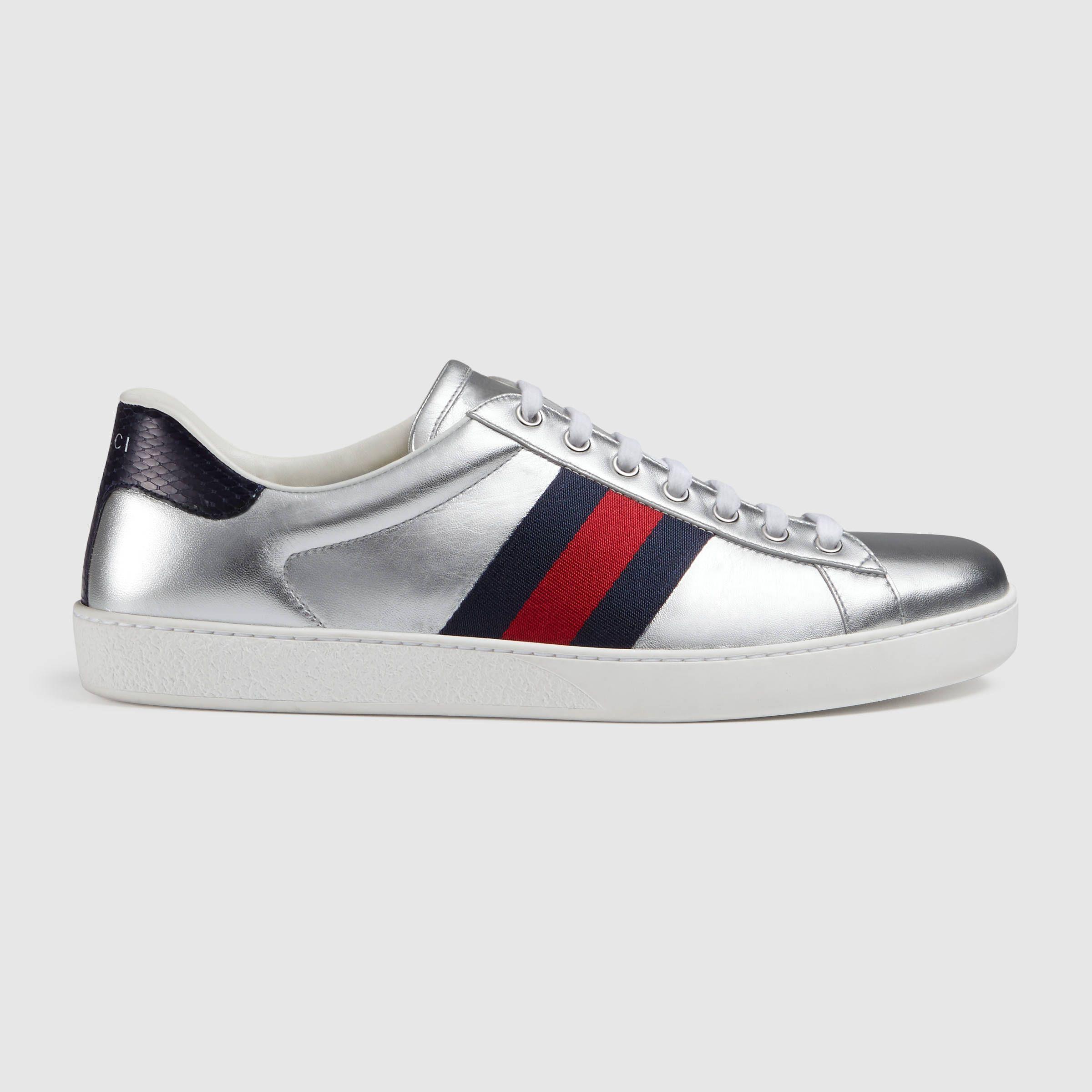 Hommes Chaussures De Sport En Cuir Plus Métallique Gucci PIpGV0Rb7r