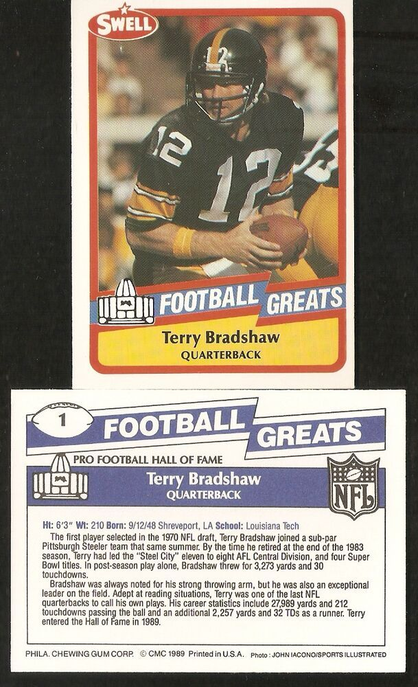1989 Terry Bradshaw Swell Football Greats Football