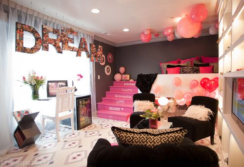 Dream Bedroom girly cute pink bedroom home dream teenager stairs ...