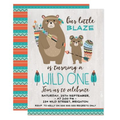 Tribal Bear 1st Birthday Invitation