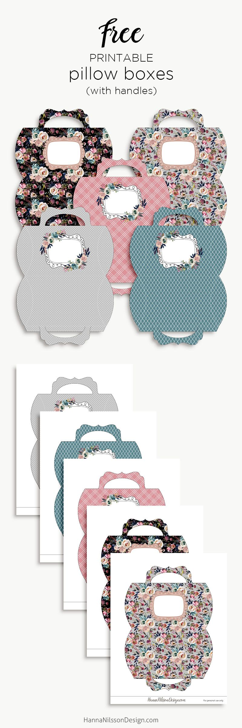 Floral pillow boxes with handle printable pillow boxes free