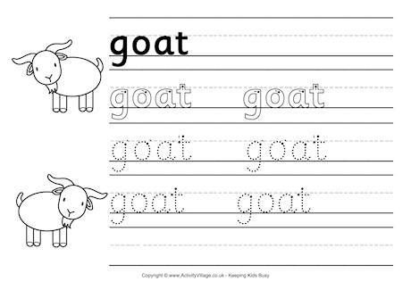 Goat Handwriting Worksheet Chinese New Year Celebrations