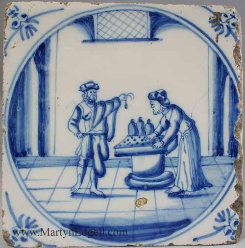 Dutch Delft biblical tile, circa 1750