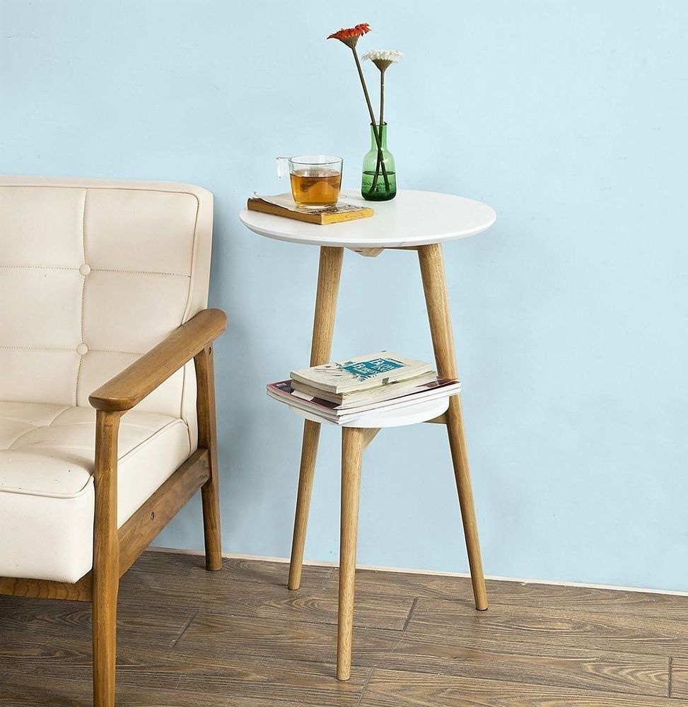 Vintage Retro Side Table 3 Wooden Legs White Round Telephone Stand Display Unit Ebay Retro Side Table Wooden Side Table Side Table