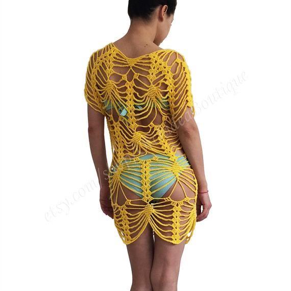 Crochet dress/Beach dress/Beach cover up/Crochet tunic/Handmade/Beachwear/Women tunic dress/Crochet boho dress #crochetbeachdress