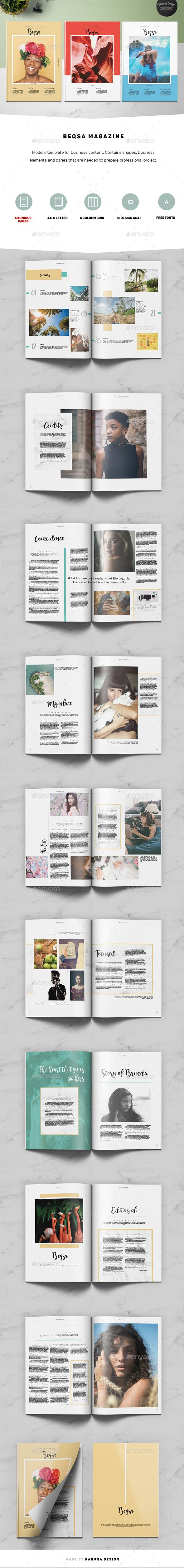 Beqsa Magazine Template InDesign INDD - 40 Pages - A4 and Letter ...