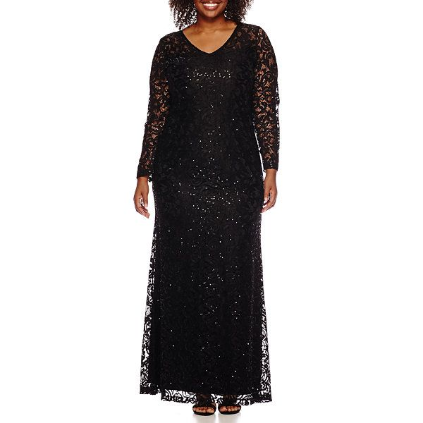 Blue Sage Marina V-Neck Long-Sleeve Lace Gown - Plus ...