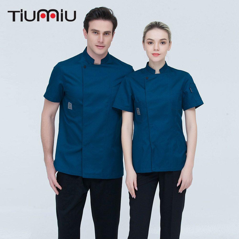 US Chef Uniform Unisex Kitchen Restaurant Cook Working Coat Pocket Jacket Shirt
