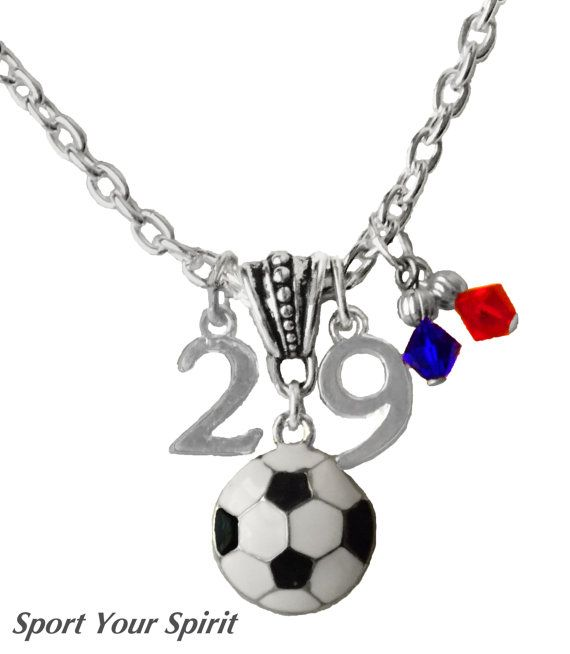 personalized soccer team color double jersey number charm necklace