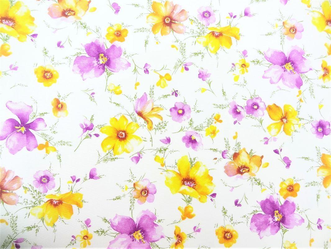 Dekorační látka fialové a žluté květy na bílé  336c34c0155