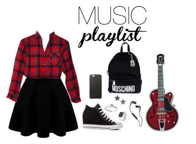 """""""Music"""" by crissydesign ❤ liked on Polyvore featuring Converse, Moschino, Dana Rebecca Designs, Judith Leiber, Skullcandy, Satya Jewelry, Casetify, women's clothing, women and female"""