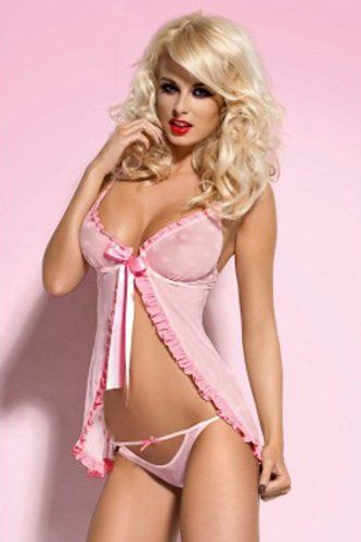 Romantic Valentine Pink Babydoll Nightie Lingerie Naughty