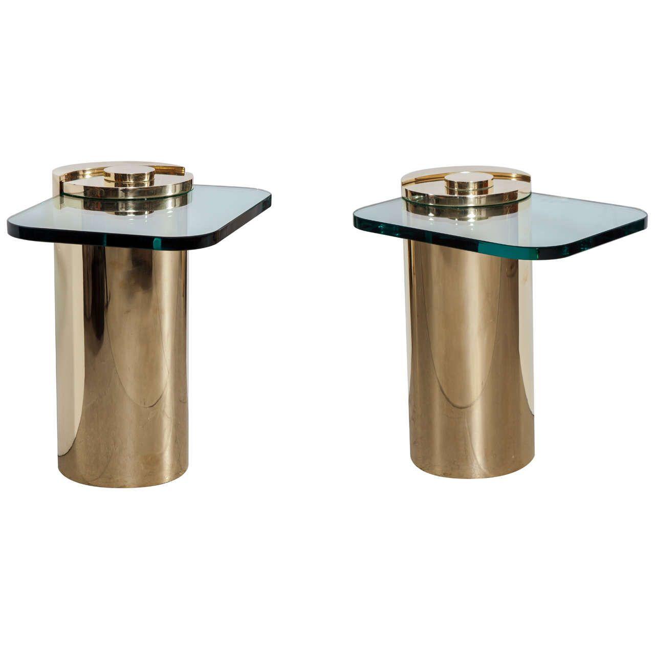Pair of Karl Springer Brass Drum Side Tables