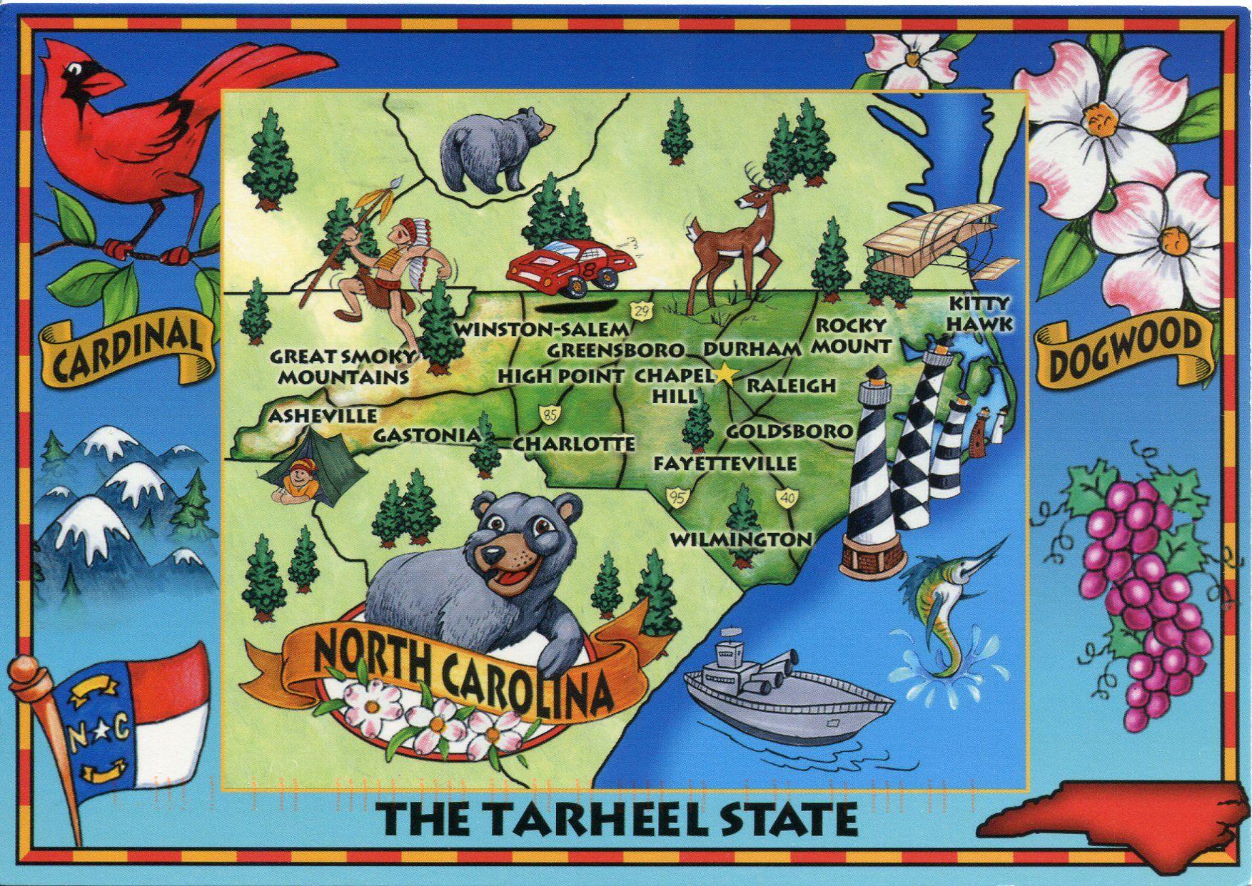 North Carolina map -   In My Mind I\'m Goin\' To Carolina   Pinterest ...