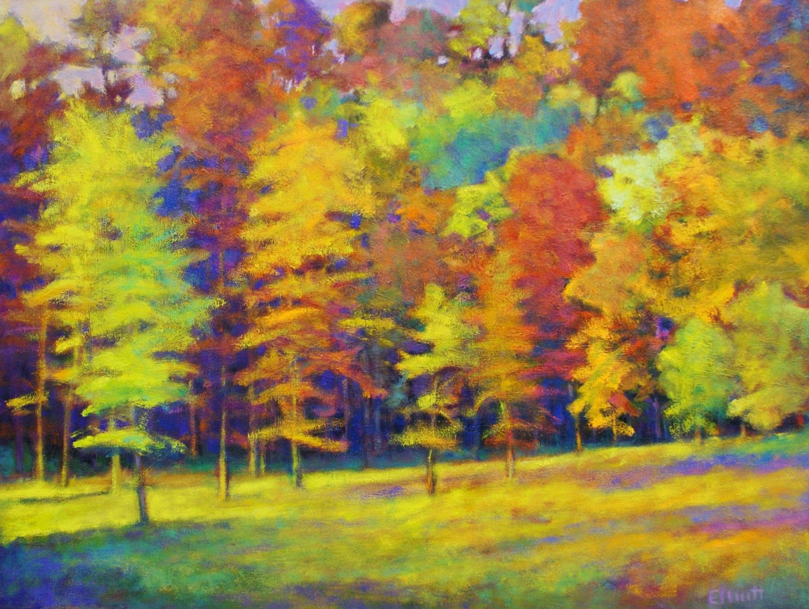 Ken elliott for the color new work fall arrayed oil on canvas 30 x 40
