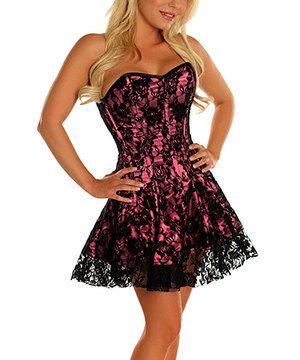 this daisy corsets pink lavish lace corset dress  women