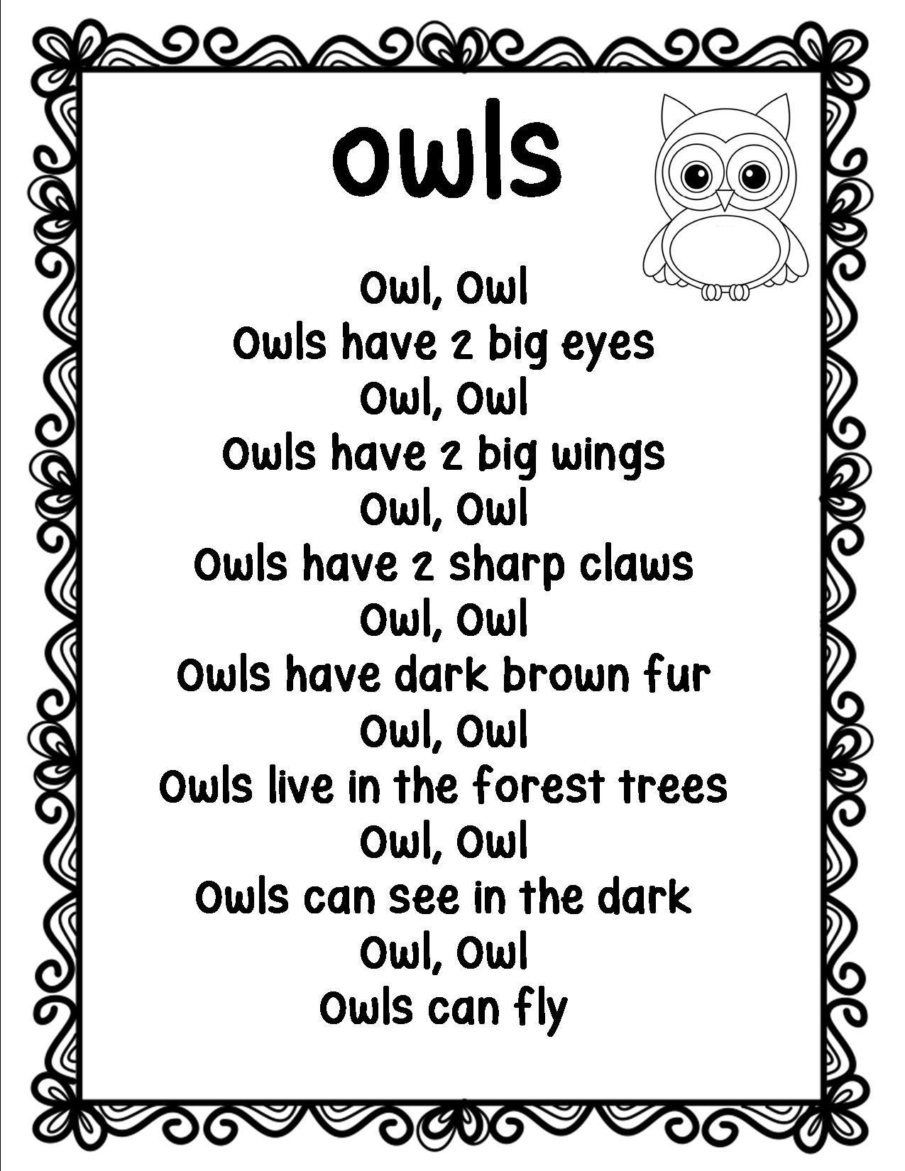 Owls Poem Is For Senior Kindergarten To Grade 2