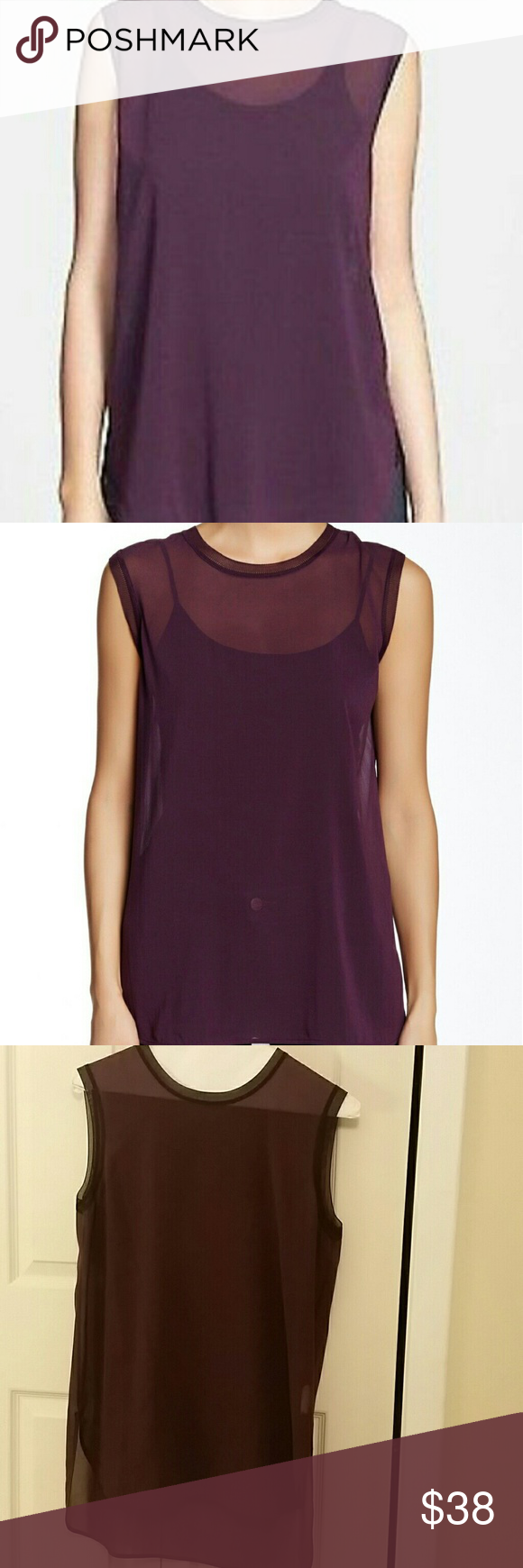 9ff08b53b8c7ff VINCE Plum Purple Sheer Silk Sleeveless Top M Gorgeous top by Vince. The  color is