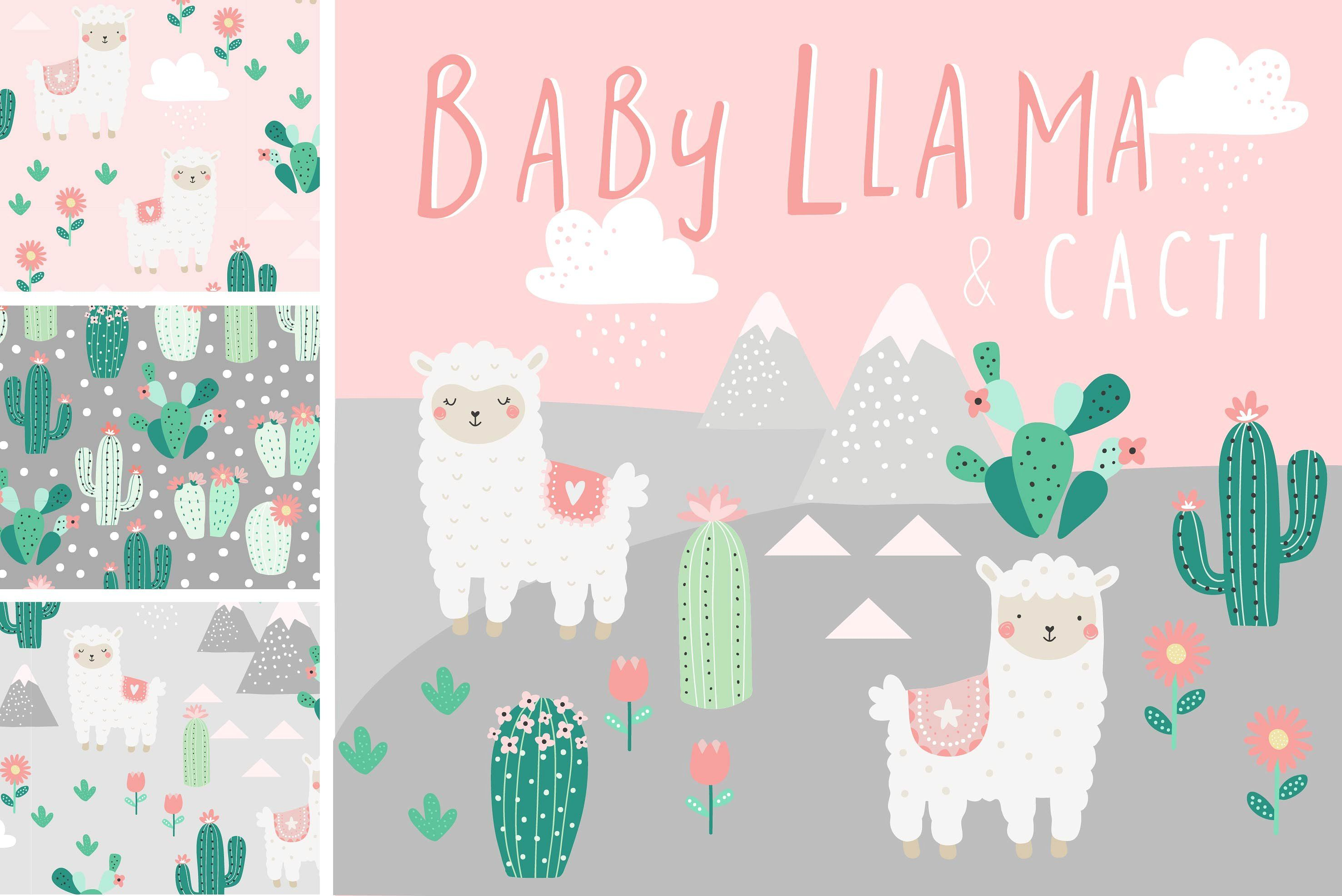 Cactus Porn Dibujo a cute collection of baby llama and cacti illustrations with