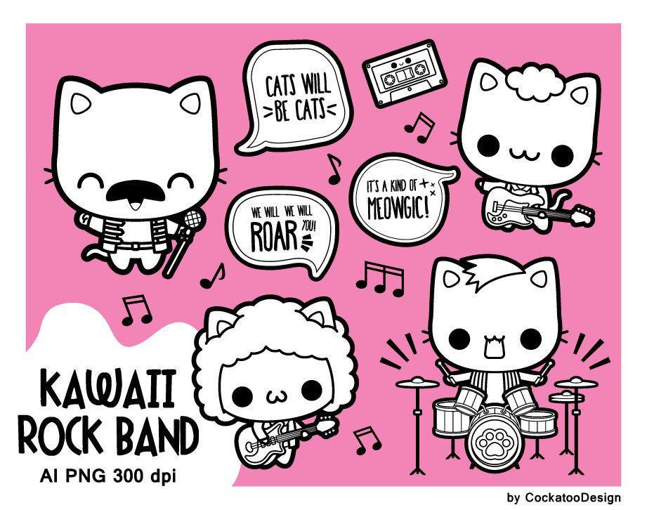 Rock band digital stamp rock star digital stamp cat ... (921 x 726 Pixel)