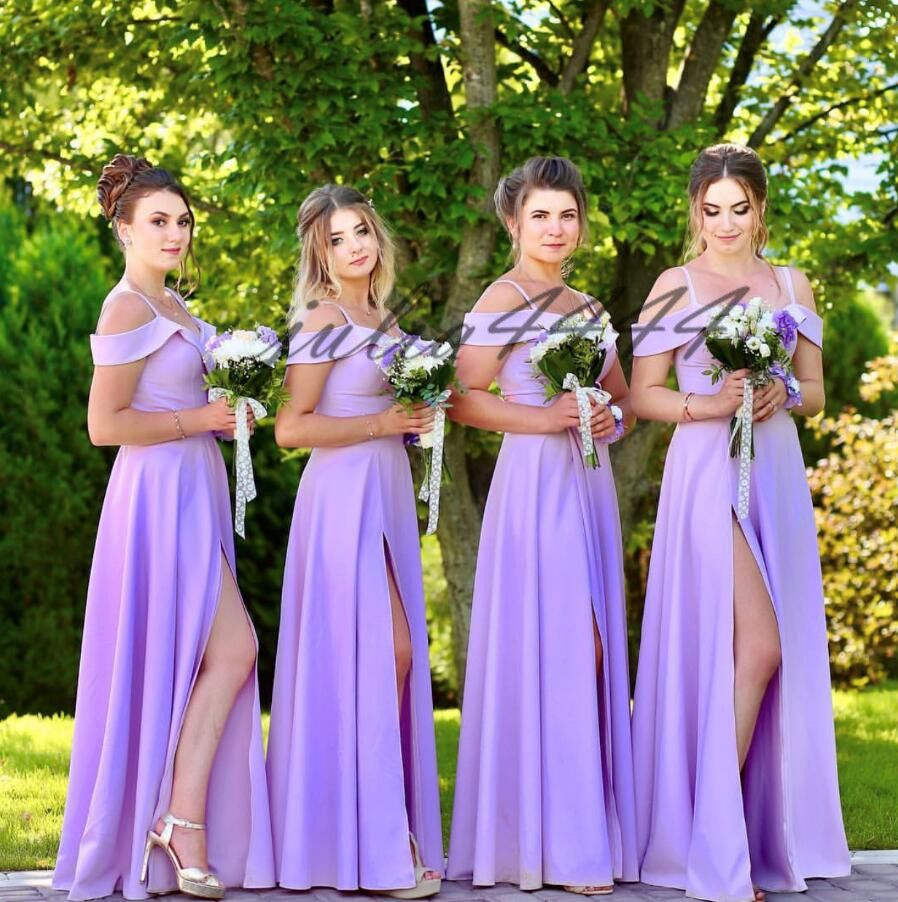 Light Purple Stain Long Bridesmaid Dresses 2019 Floor Length