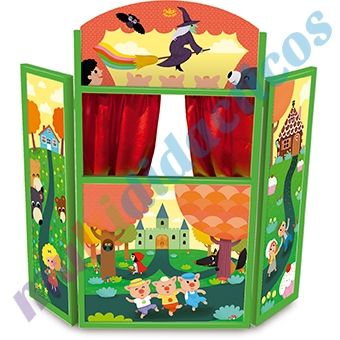 Teatro para marionetas de madera plegable cortinas de - Telas de cortinas infantiles ...
