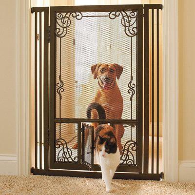 Tension-mount Dual Door Steel Mesh Pet Gate by Frontgate