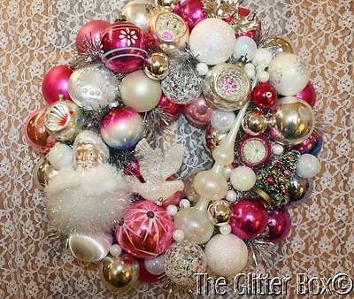 Shabby-Cottage-Chic-Vintage-Ornament-Christmas-Wreath-Pink-Silver-White-19