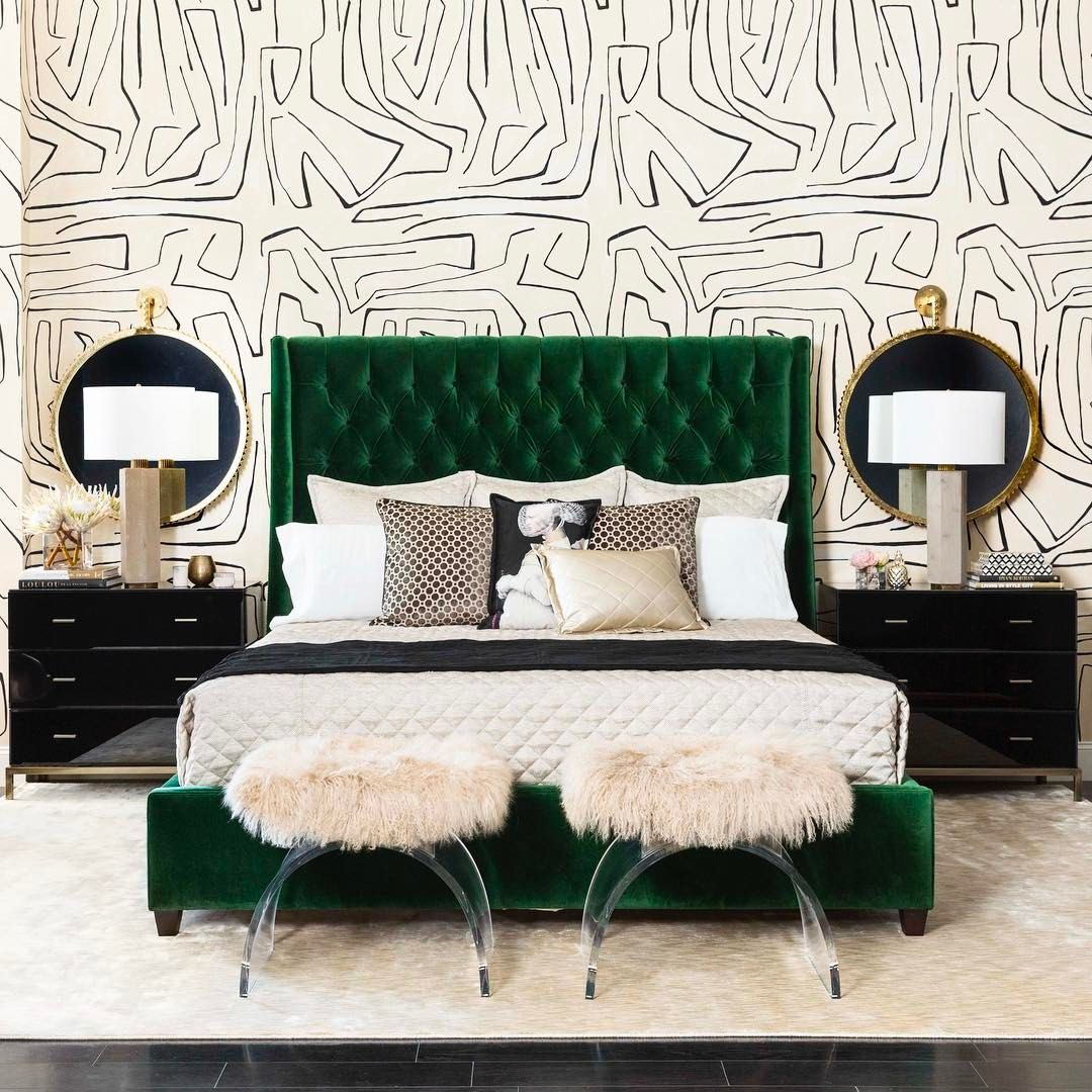 1 336 Likes 28 Comments High Fashion Home Highfashionhome On Instagram Green Headboardapholstered Headboardvelvet
